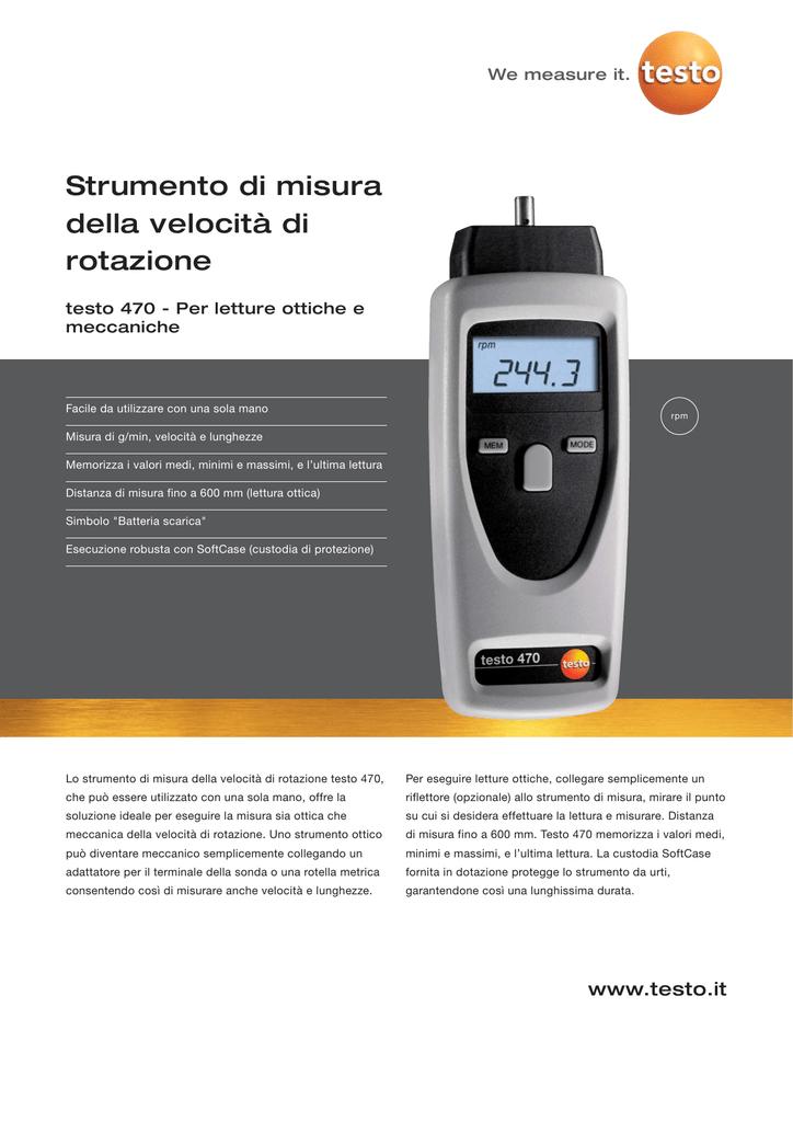 92e0a55c1c955c Strumento di misura della velocità di rotazione testo 470 - Per letture  ottiche e meccaniche Facile da utilizzare con una sola mano rpm Misura di  g/min, ...