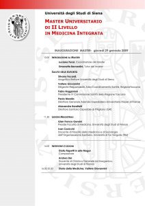 MASTER UNIVERSITARIO DI II LIVELLO IN MEDICINA INTEGRATA