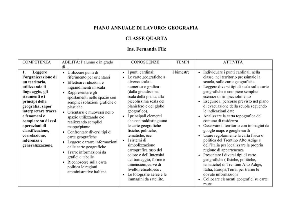 Piano Annuale Di Geografia Classe Iv Anno Scolastico 2015