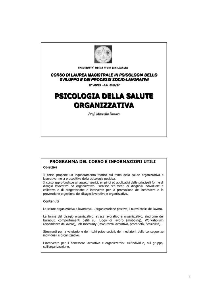 Slides Psicologia Della Salute Organizzativa 16 17