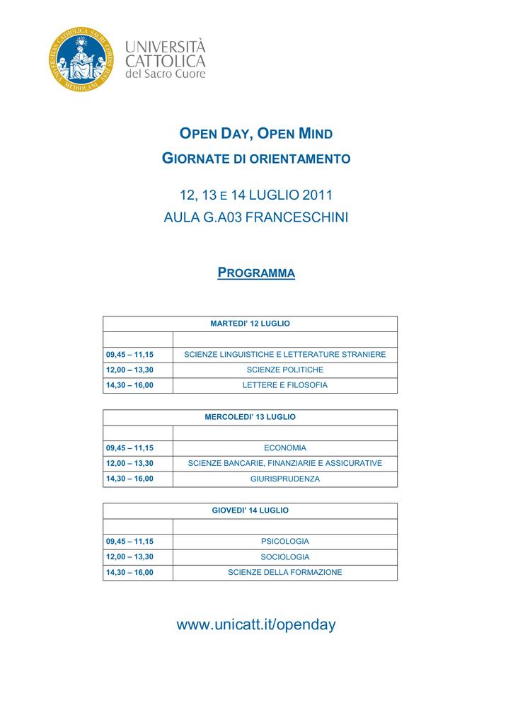 Unicatt Calendario Esami.Www Unicatt It Openday Liceo Linguistico A Manzoni