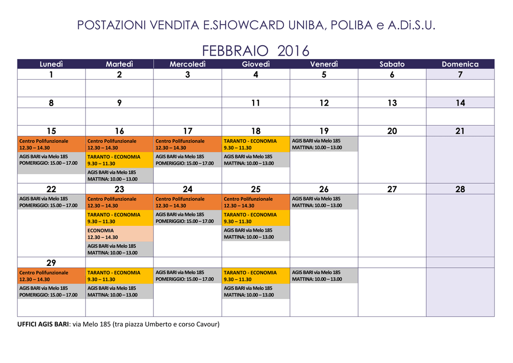 Poliba Calendario.Calendario Eshowcard Feb Mar