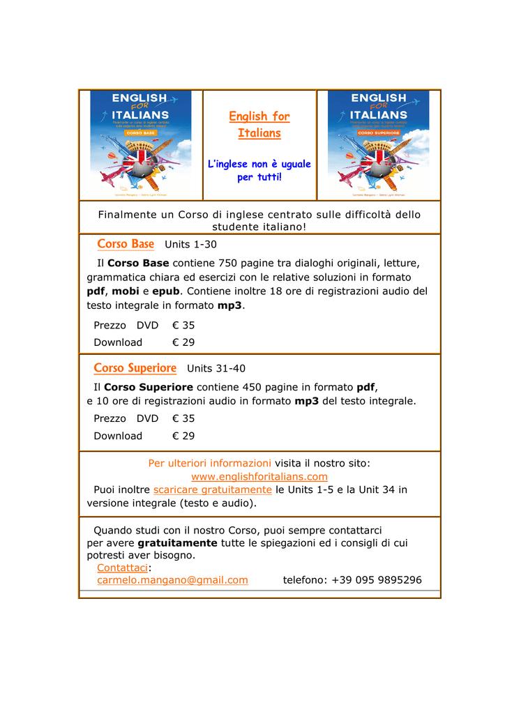 Corso di inglese gratis da scaricare pdf