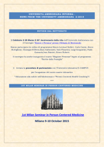 1st Milan Seminar in Person Centered Medicine Milano 9