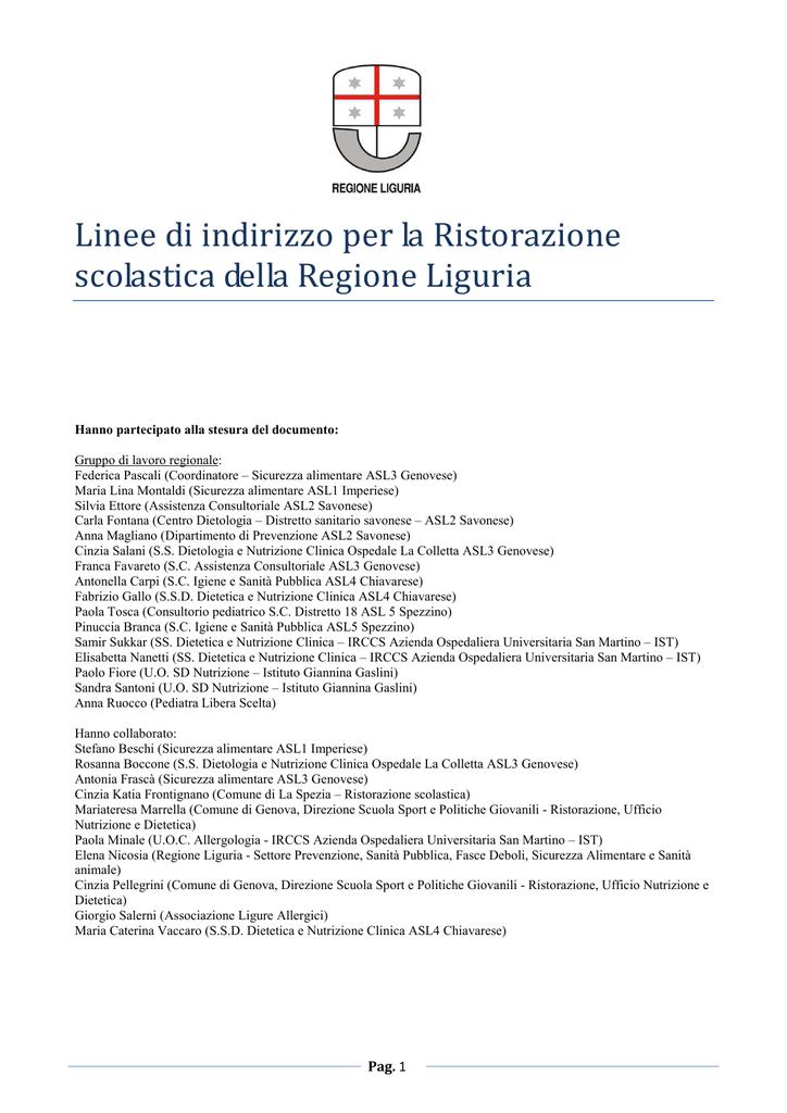 prezzo basso nuovo prodotto alta moda Linee di Indirizzo per la Ristorazione Scolastica della Regione Liguria