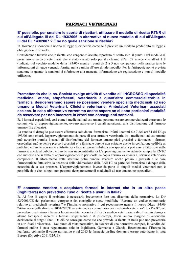 Ricetta Veterinaria Uso In Deroga.Farmaci Veterinari Ordine Dei Farmacisti Di Napoli