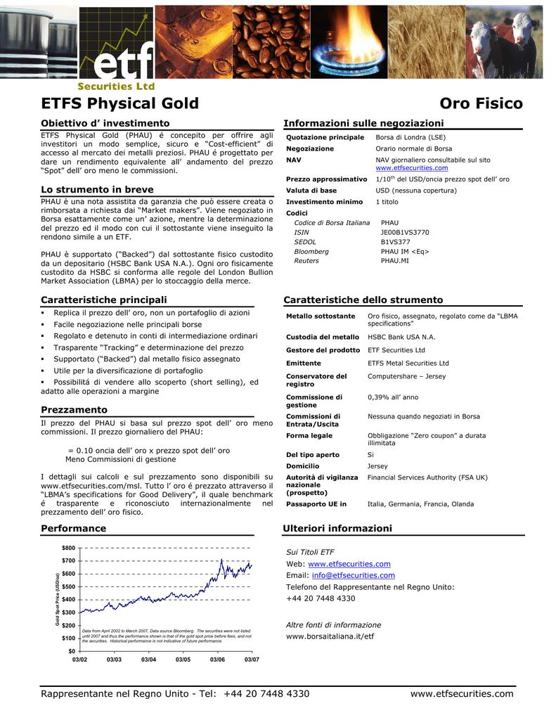 carino e colorato come ottenere garanzia di alta qualità ETFS Physical Gold Oro Fisico