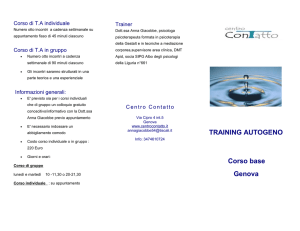 TRAINING AUTOGENO Corso base Genova