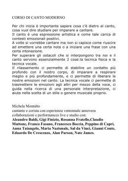 CORSO DI CANTO MODERNO Michela Montalto cantante e corista c8365eebd1d9