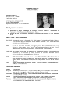CURRICULUM VITAE GIULIANA COSTA Residente a Milano Data