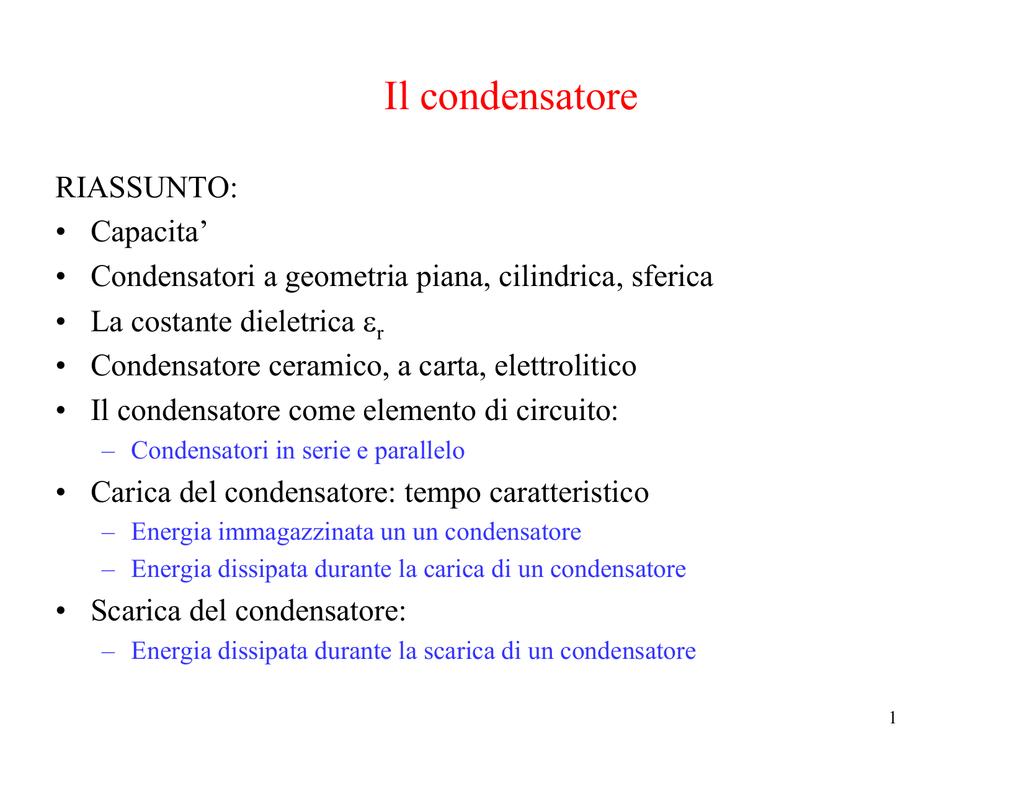 DI UN CONDENSATORE FORMULE SCARICARE