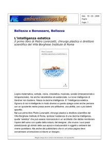 Bellezza e Benessere, Bellezza L`intelligenza estetica