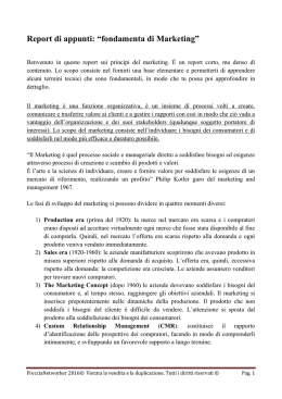 "Report di appunti: ""fondamenta di Marketing"""