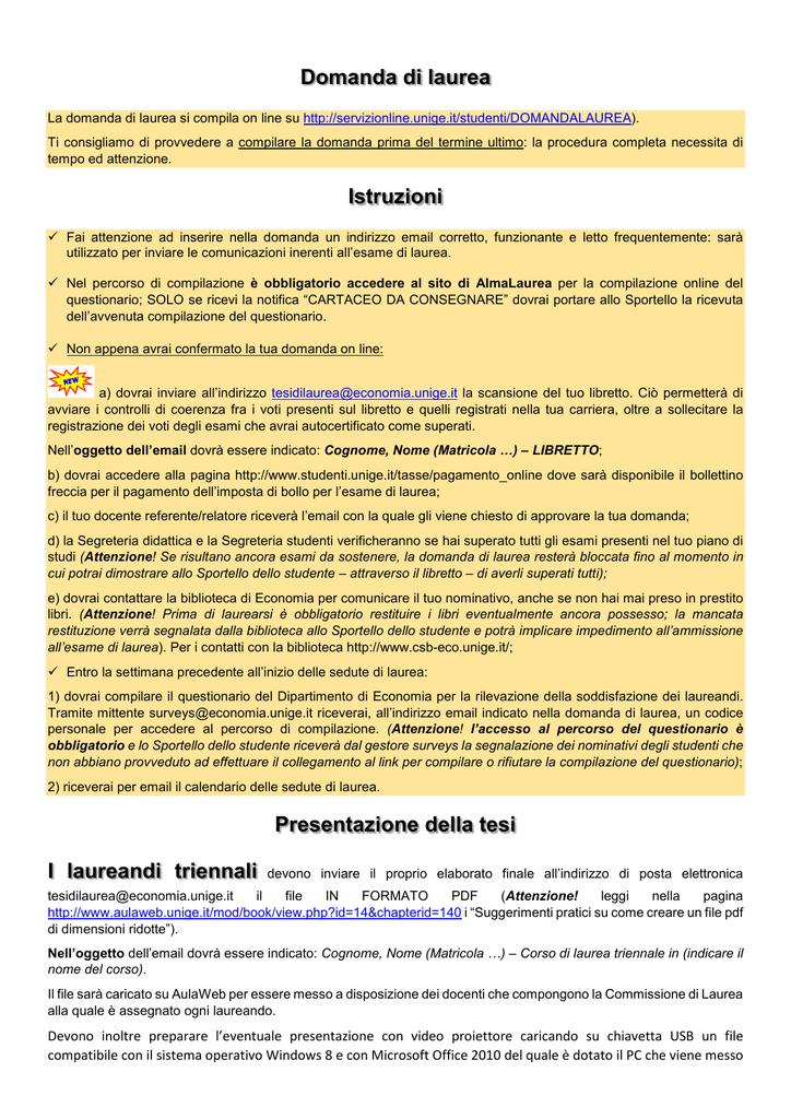 Calendario Esami Unige.Presentazione Della Domanda Di Laurea