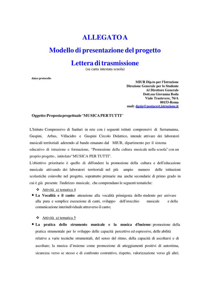 Allegato A Modello Di Presentazione Del Progetto Lettera Di