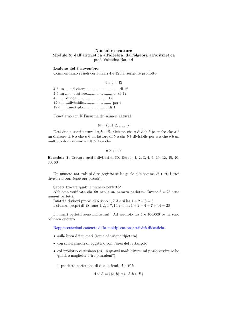 Numeri E Strutture Modulo 3 Dallaritmetica Allalgebra Dallalgebra