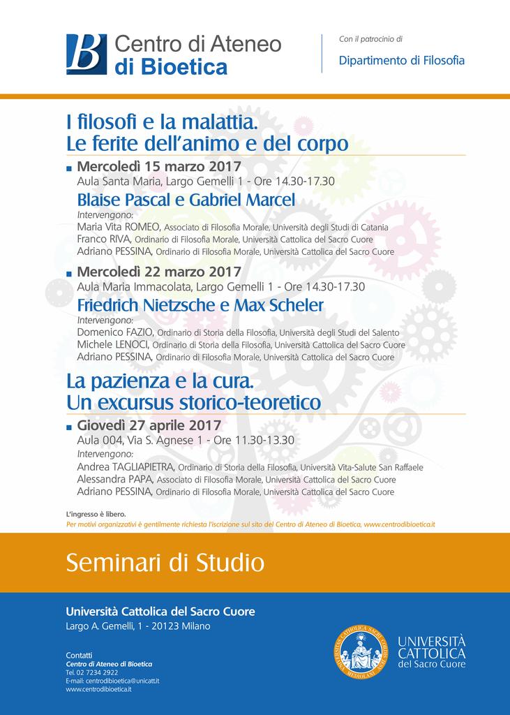 Calendario Unicatt.Calendario Completo Dei Seminari Universita Cattolica Del