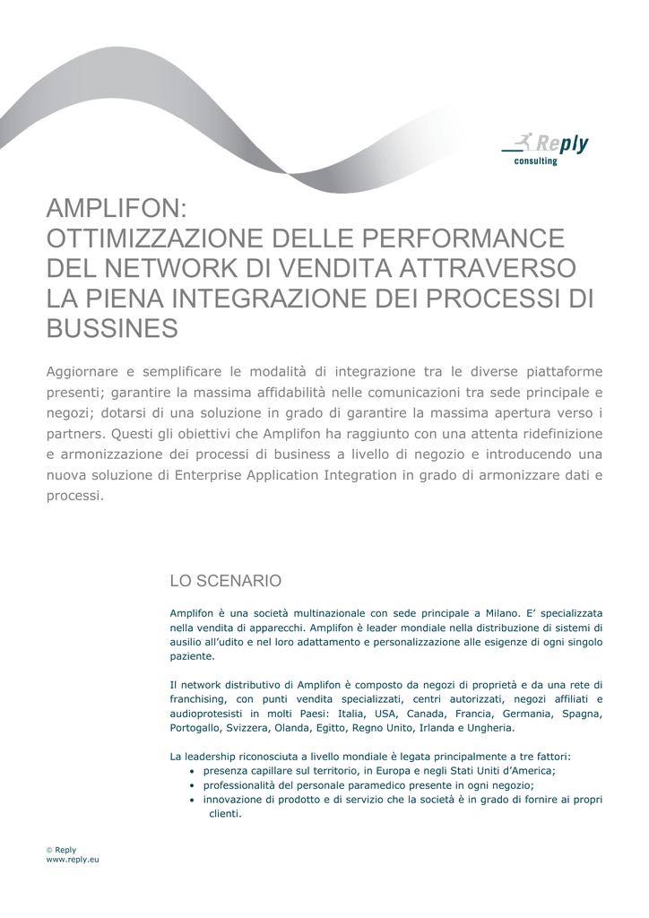 Amplifon Ottimizzazione Delle Performance Del Network Di Vendita