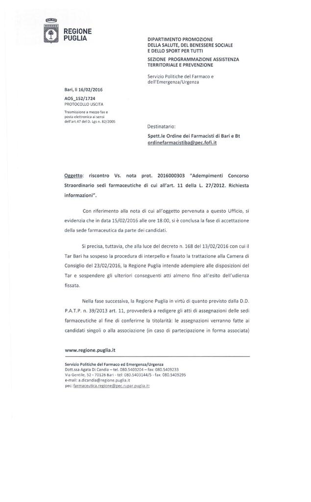 Regione Puglia Ordine Interprovinciale Dei Farmacisti Di Bari E