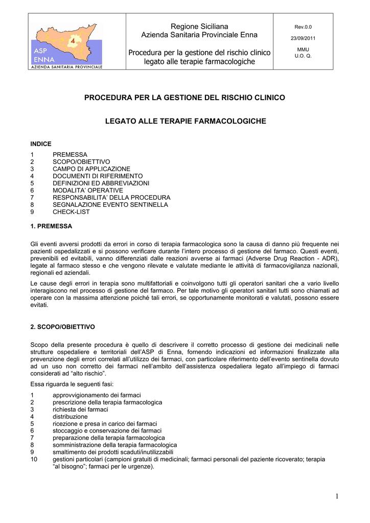 Rischio Clinico Somministrazione Farmaci.Mmu Gestione Del Farmaco Azienda Sanitaria Provinciale Di Enna