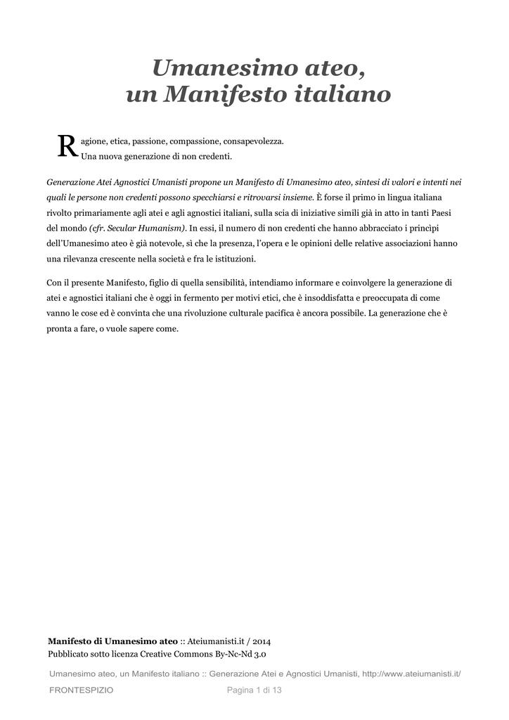 Umanesimo Ateo Un Manifesto Italiano