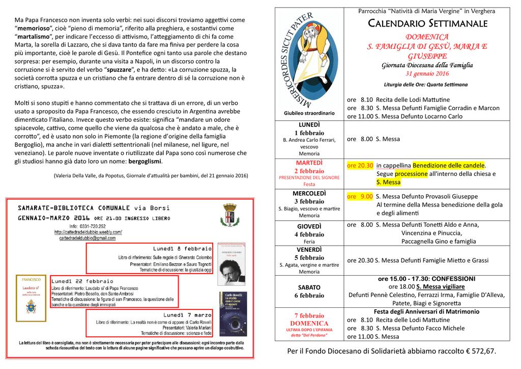 Pagina Calendario Settimanale.Calendario Settimanale Comunita Pastorale Maria Madre Della