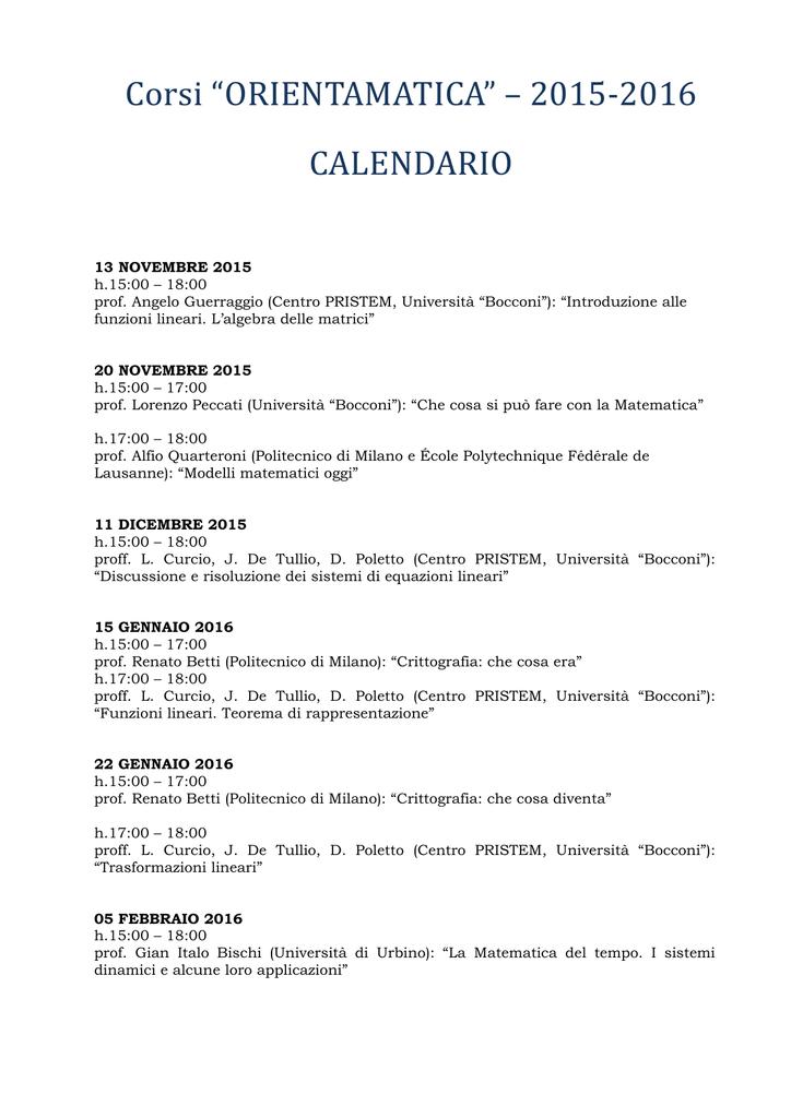 Calendario Politecnico Milano.Corsi Orientamatica 2015 2016 Calendario