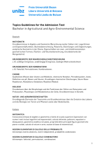 Topics Guidelines for the Admission Test Bachelor in Agricultural
