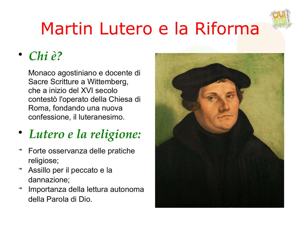Scarica gli schemi su Martin Lutero