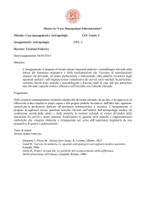 "Master in ""Case Management Infermieristico"" Modulo: Case"
