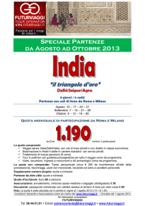 INDIA Triangolo d`Ore 2013 Completo con cartina