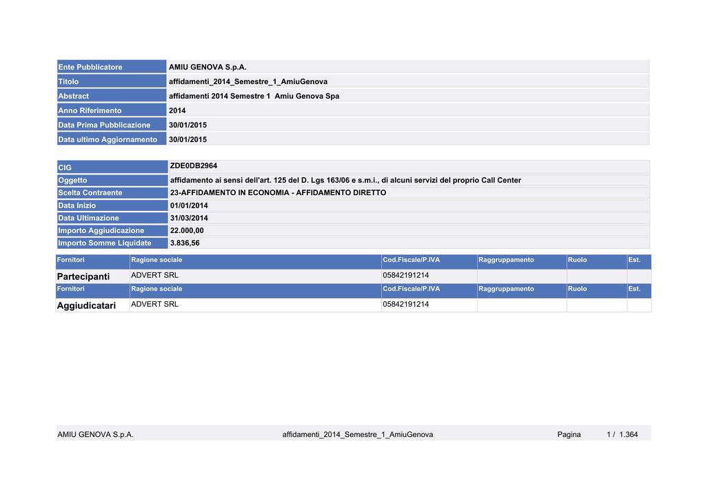3d55cba3b1f5 Affidamenti 2014 semestre 1 Amiu Genova SpA