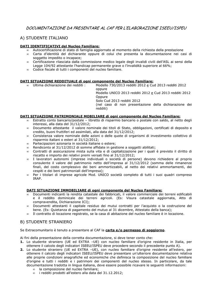 Documenti per CAF - Università degli Studi di Verona