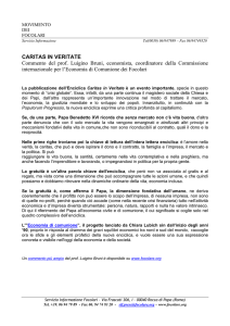 CARITAS IN VERITATE Commento del prof. Luigino Bruni