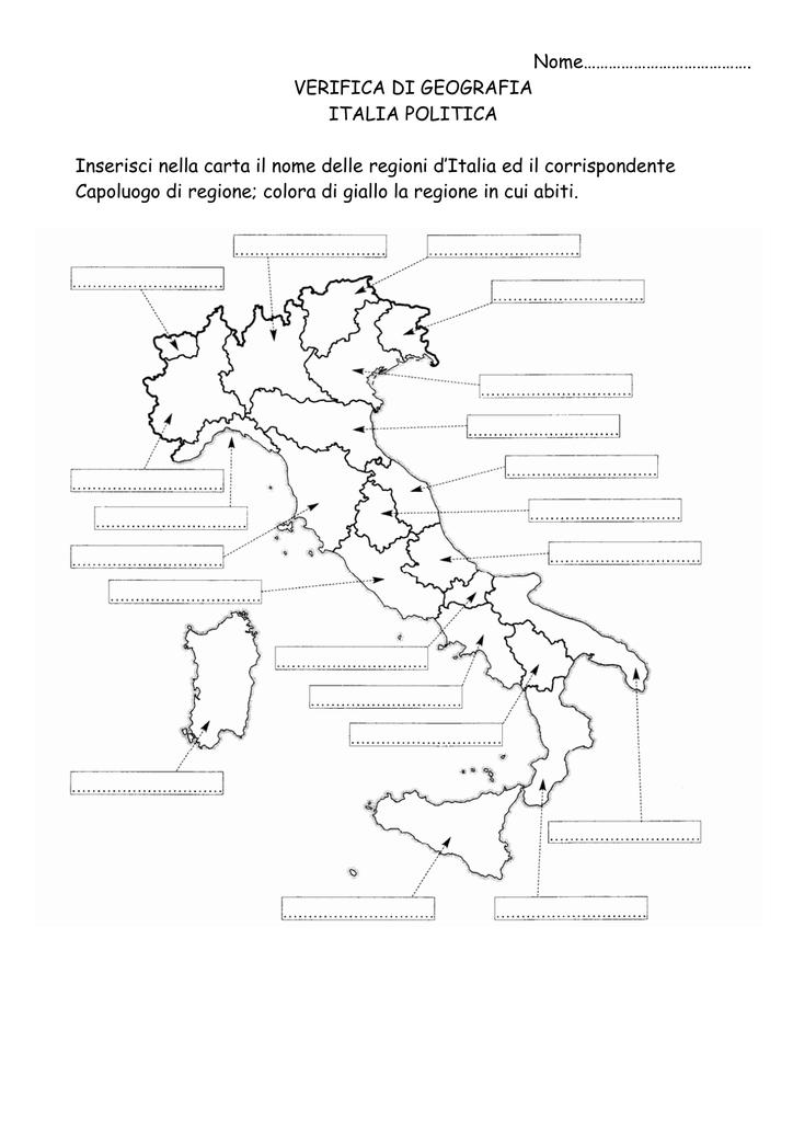 Cartina Muta Delle Regioni Ditalia.Nome Verifica Di Geografia