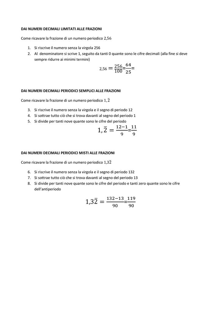 Dai Numeri Decimali Limitati Alle Frazioni Come Ricavare La