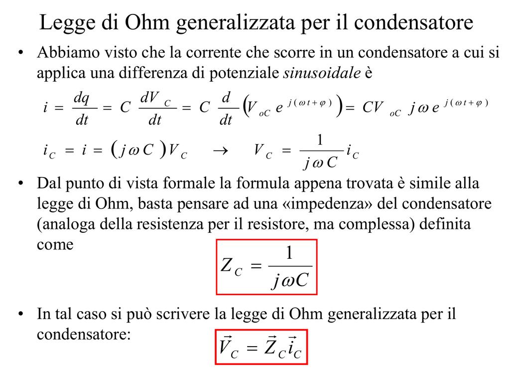 del condensatore formula