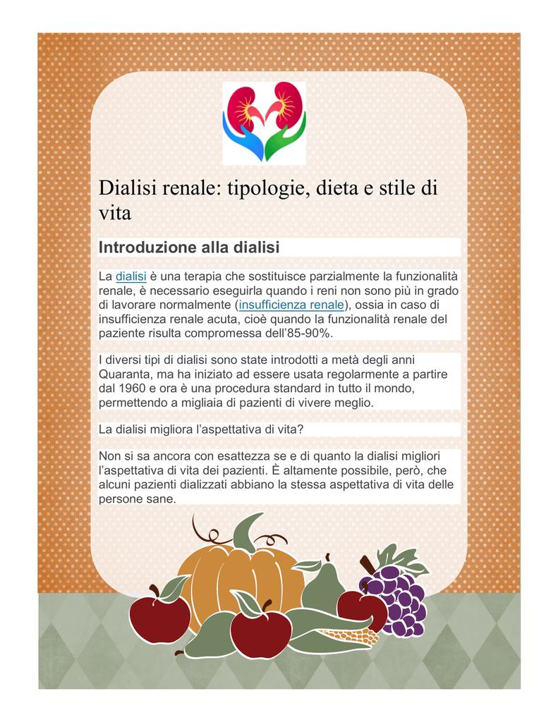 dieta pazienti in dialisi