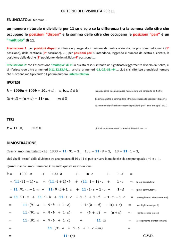 low priced 1567f 8f648 CRITERIO DI DIVISIBILITÀ PER 11 un numero naturale è divisibile