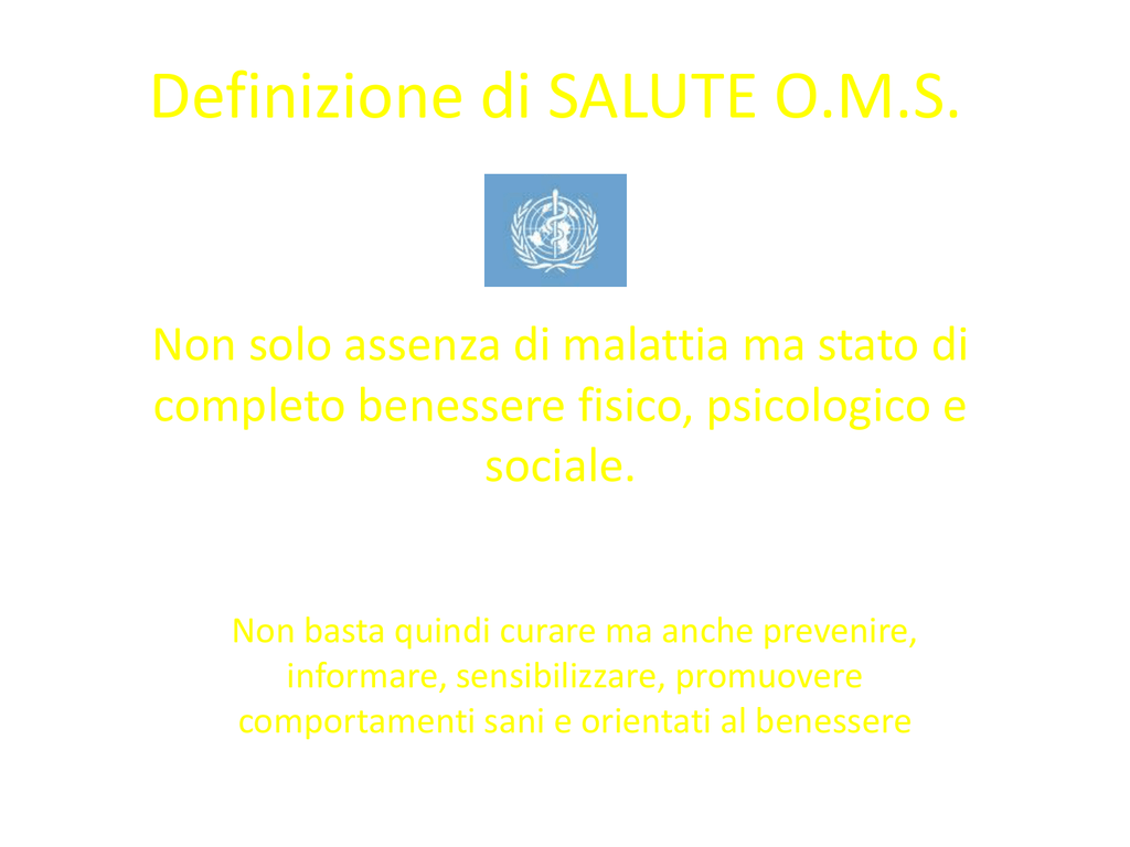 Definizione Di Salute O M S