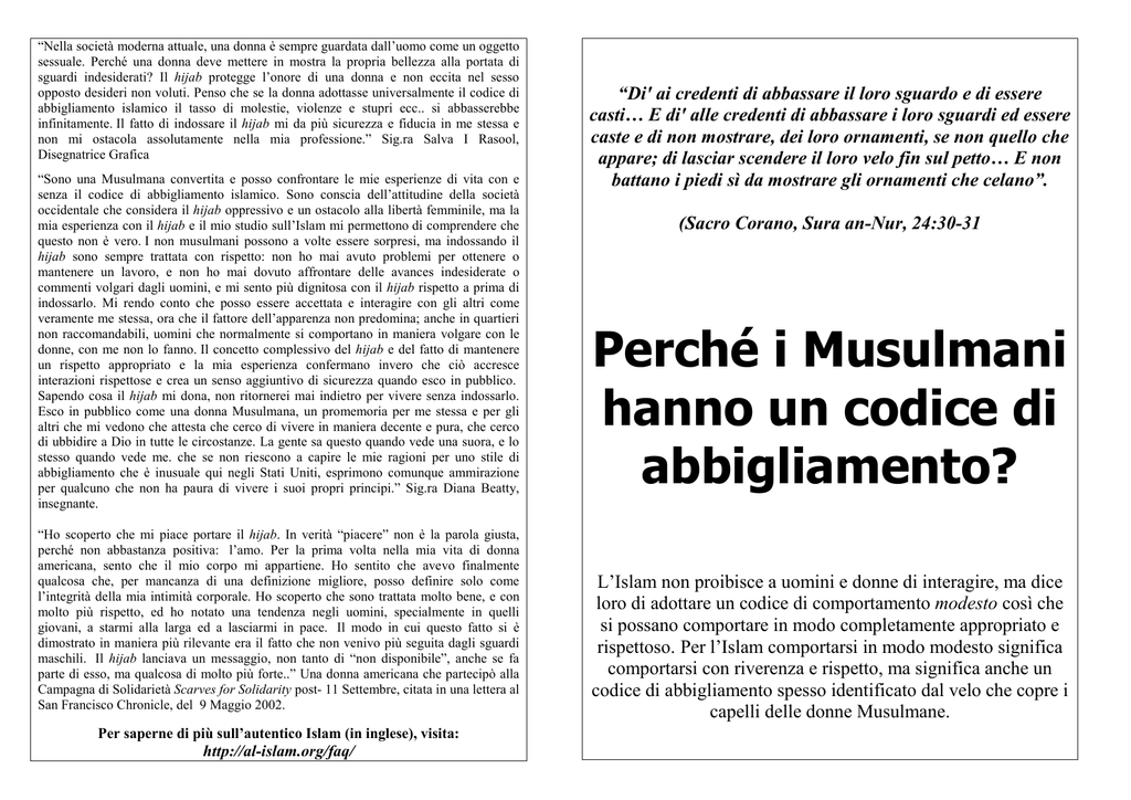 Codice Hanno Perché Musulmani AbbigliamentoAl Un Di I rChQxtsd