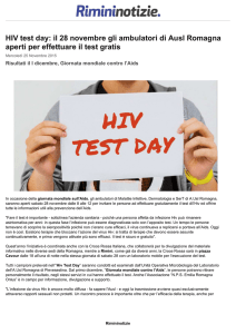 HIV test day: il 28 novembre gli ambulatori di Ausl