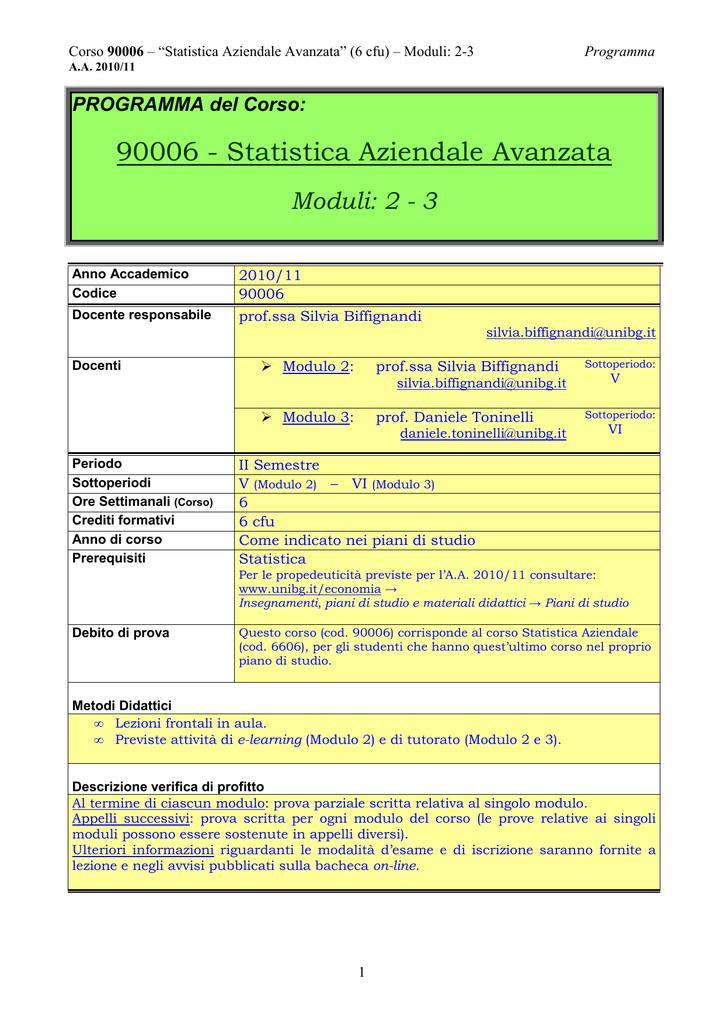 Calendario Esami Unibg Economia.90006 Statistica Aziendale Avanzata