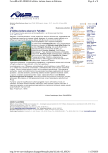 L`edilizia italiana sbarca in Pakistan Page 1 of 1 News ITALIA