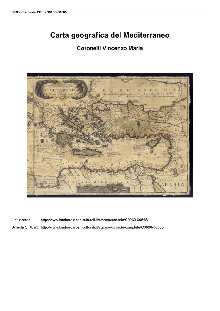 Mediterraneo Cartina Geografica.Carta Geografica Del Mediterraneo
