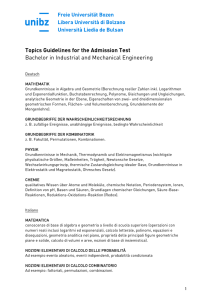 Topics Guidelines for the Admission Test Bachelor in Industrial and