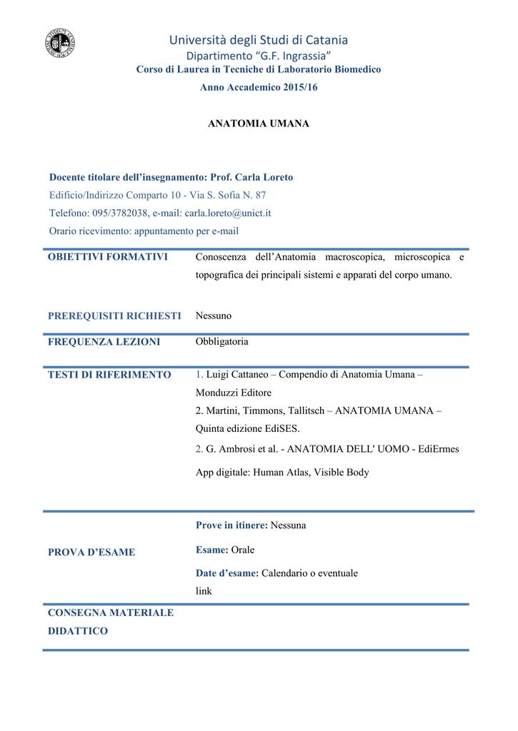 Calendario Medicina Unict.Programma Medicina Unict