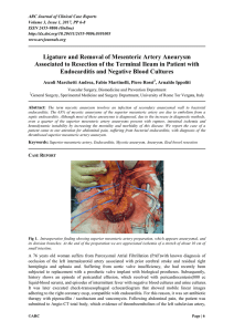 Ligature and removal of mesenteric artery aneurysm associated to