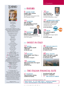 Features >> Invest In Italy >> the ItalIan FInanCIal elIte