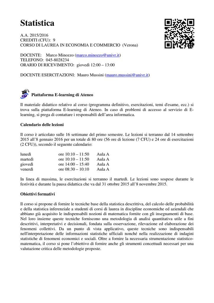 Calendario Didattico Univr Economia.Statistica Dse Universita Degli Studi Di Verona